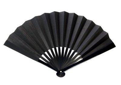 画像1: 尾形刀剣 TS-B 鉄扇8寸/黒(全長24cm 扇子袋、箱入)