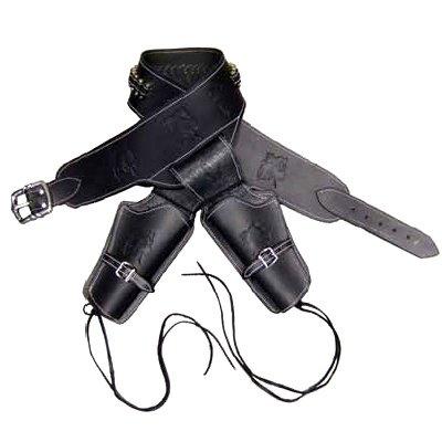 画像1: DENIX デニックス 708 BLACKHAWK リボルバー 2丁用 ガンベルト 126cm アクセサリー 革