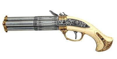 画像2: DENIX デニックス 1310 フリントロック 4バレル レプリカ 銃 モデルガン