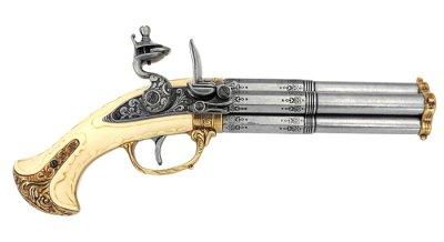 画像1: DENIX デニックス 1310 フリントロック 4バレル レプリカ 銃 モデルガン