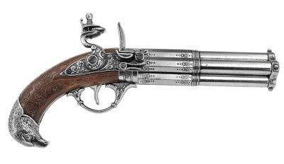 画像1: DENIX デニックス 1307 フリントロック 4バレル レプリカ 銃 モデルガン