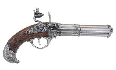 画像1: DENIX デニックス 1306 フリントロック 3バレル レプリカ 銃 モデルガン