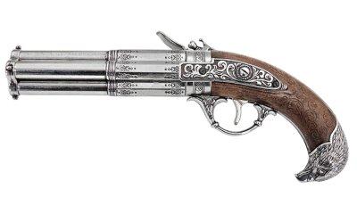 画像2: DENIX デニックス 1307 フリントロック 4バレル レプリカ 銃 モデルガン