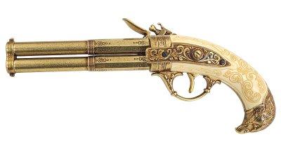 画像2: DENIX デニックス 1305 フリントロック 2バレル ゴールド レプリカ 銃 モデルガン