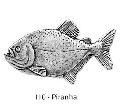 画像1: ピンバッジ ピラニア 110 ぴらにあ 魚 ピンズ バッチ スズ シルバー ピューター ブローチ バッジ バッヂ【ゆうパケット発送可】