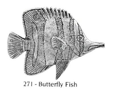 画像1: ピンバッジ バタフライフィッシュ 271 魚 ピンズ バッチ スズ シルバー ピューター ブローチ バッジ バッヂ【ゆうパケット発送可】