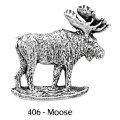 ピンバッジ ムース 406 moose シカ 鹿 ヘラジカ ピンズ バッチ スズ シルバー ピューター ブローチ バッジ バッヂ【ゆうパケット発送可】