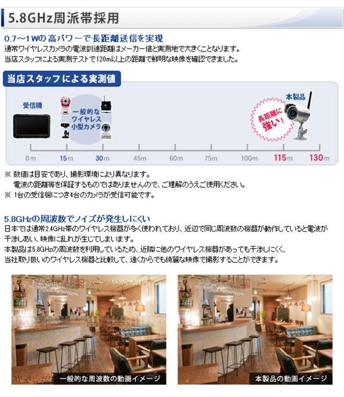 5.8GHz ワイヤレスカメラセット