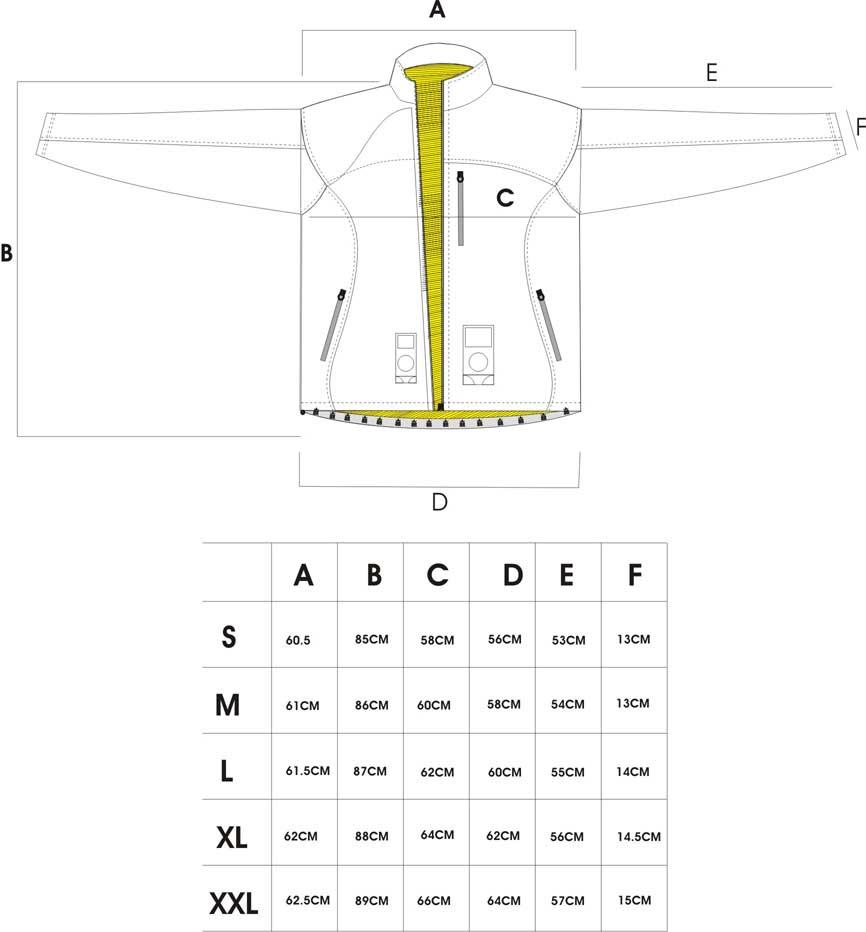 防刃ジャケット サイズ表