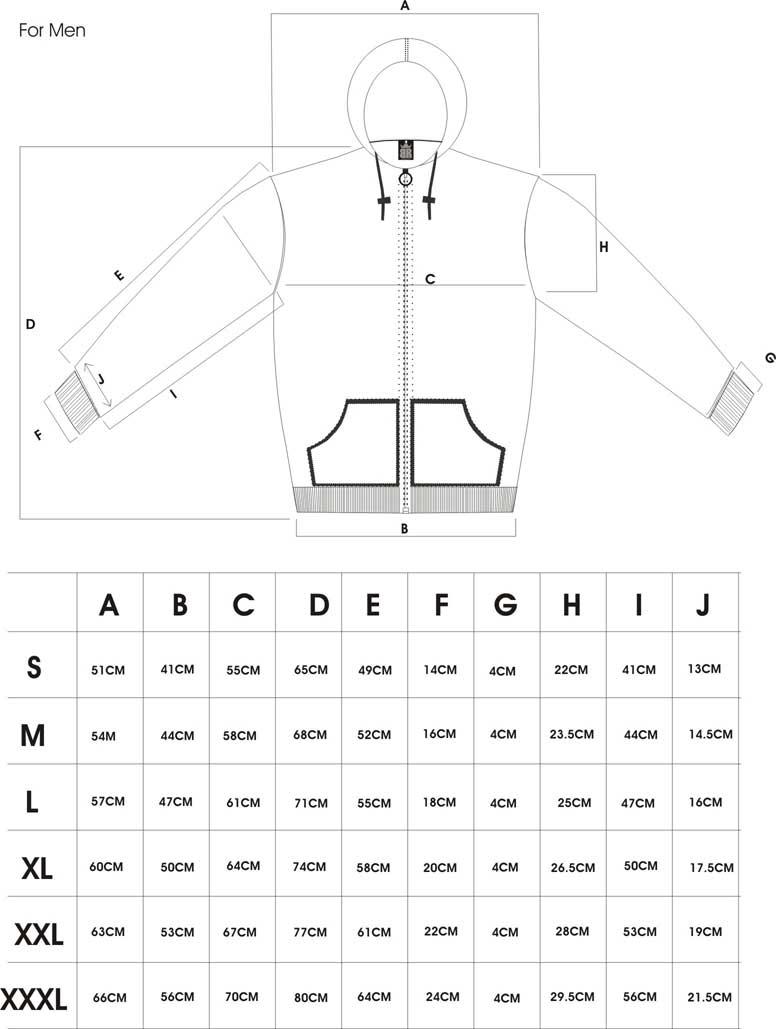 防刃パーカー サイズ表
