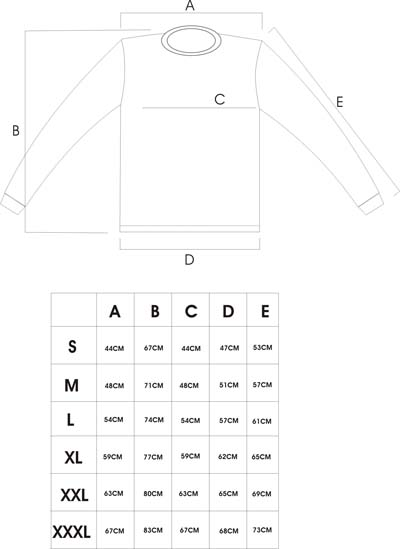 防刃ロングTシャツ サイズ表
